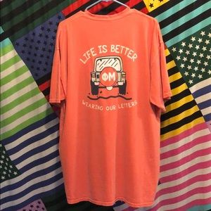 Coral Phi Mu Jeep Comfort Colors Pocket T-Shirt!